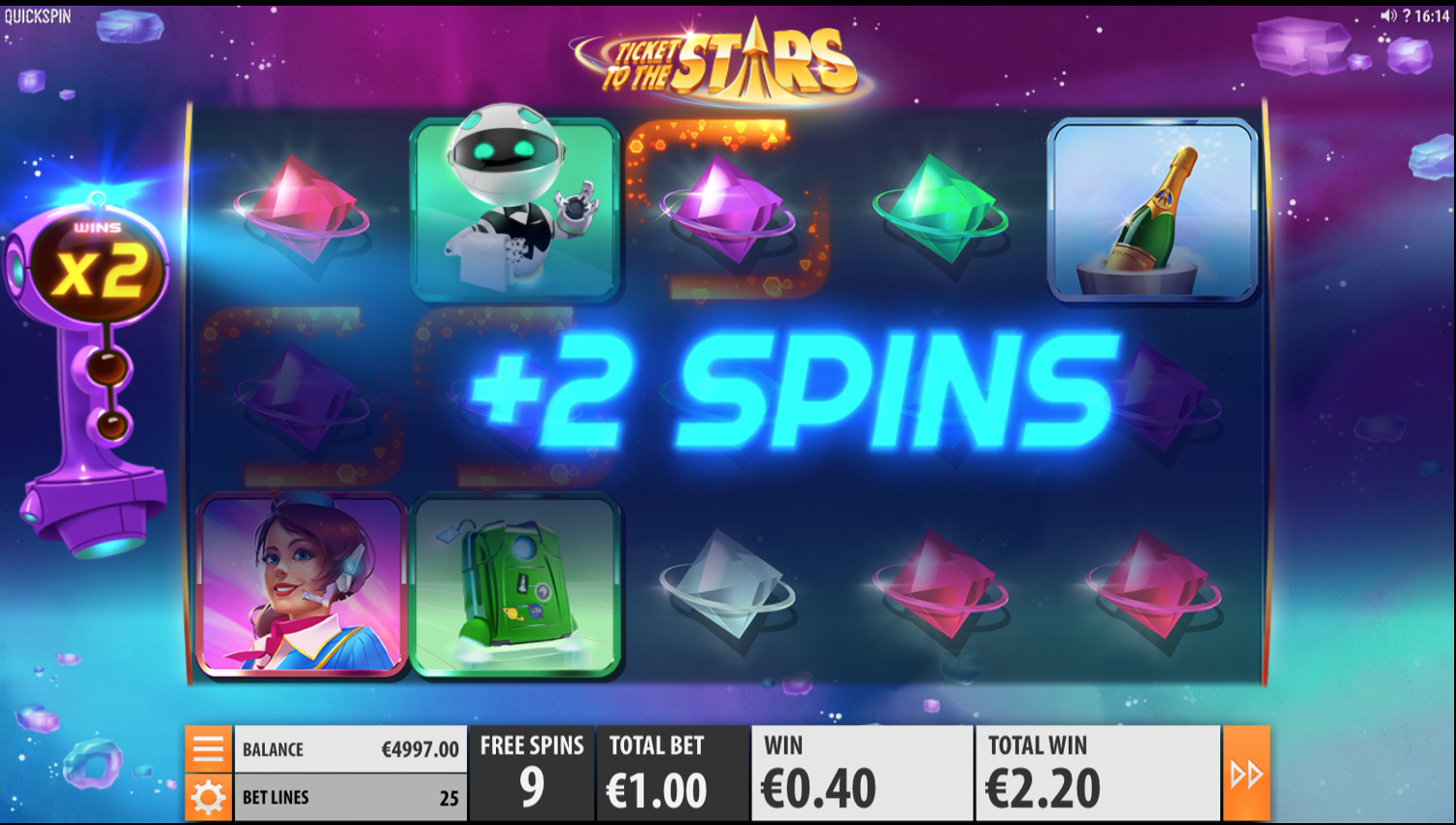 Ticket to the Stars extra spins won