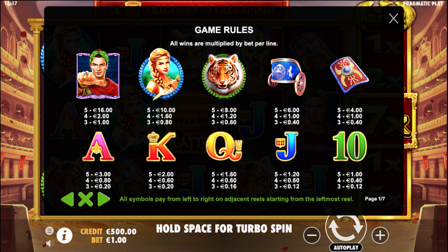 Wild Gladiators slot paytable