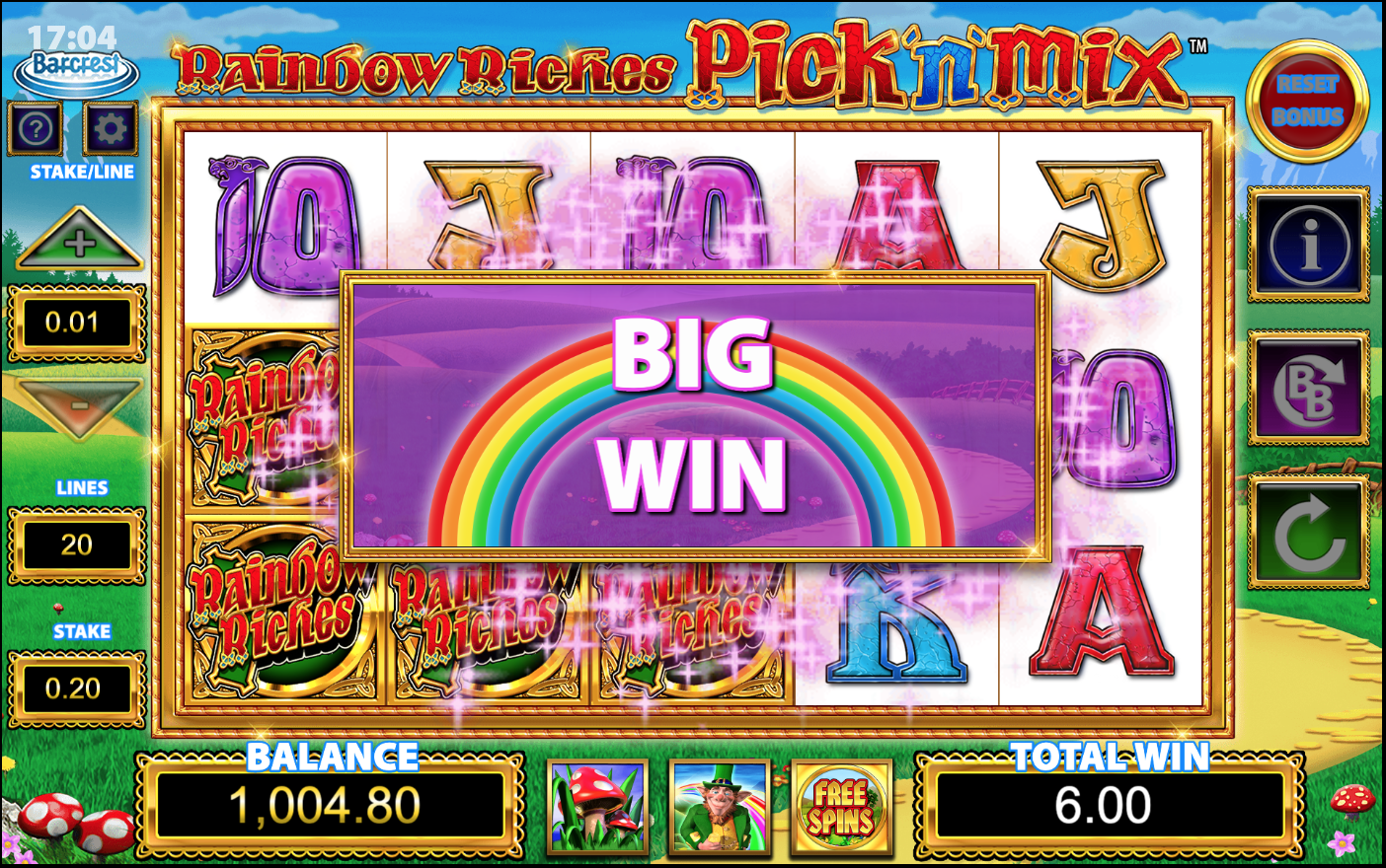 Rainbow Riches Pick'n'Mix big win