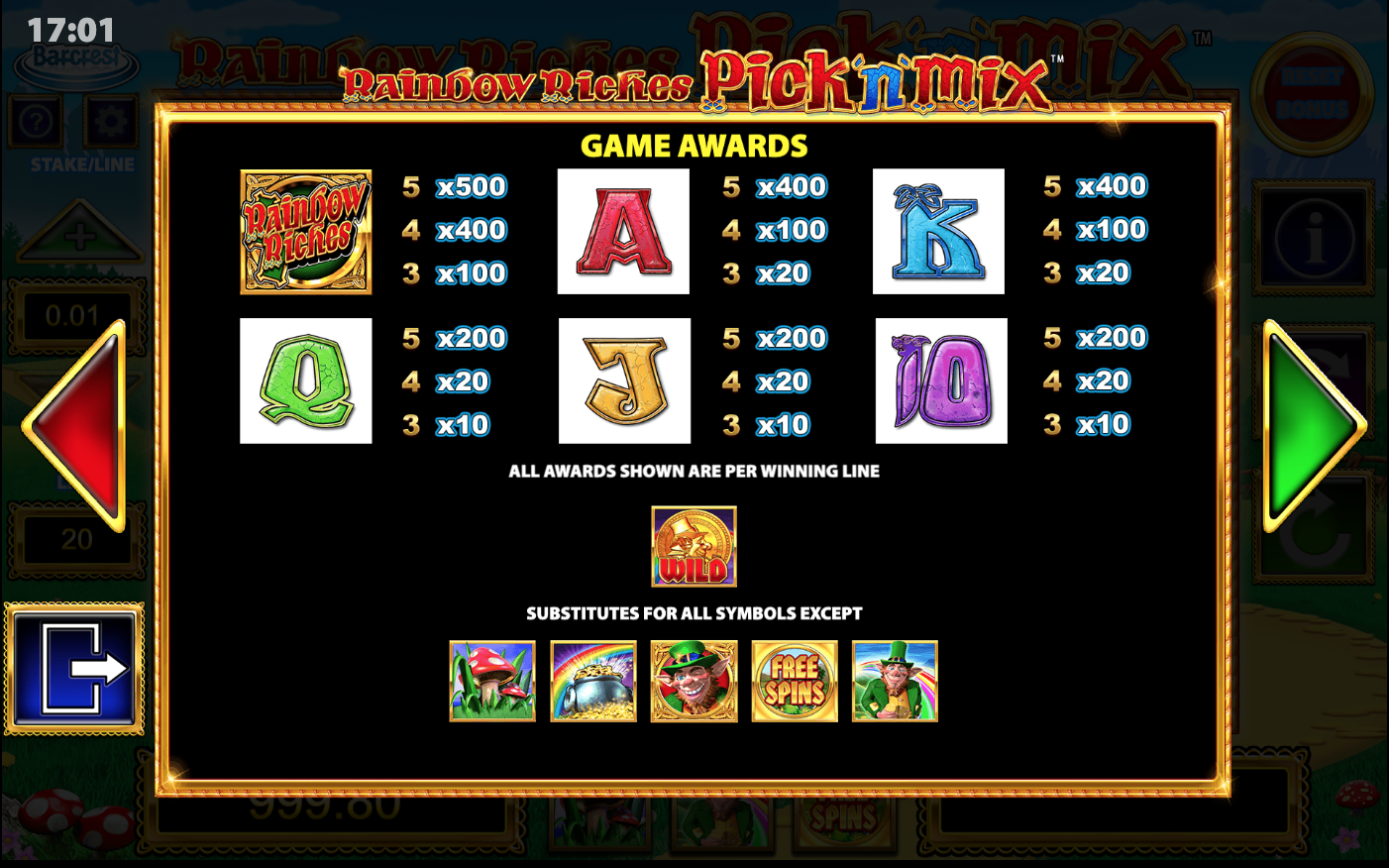 Rainbow Riches Pick'n'Mix full paytable