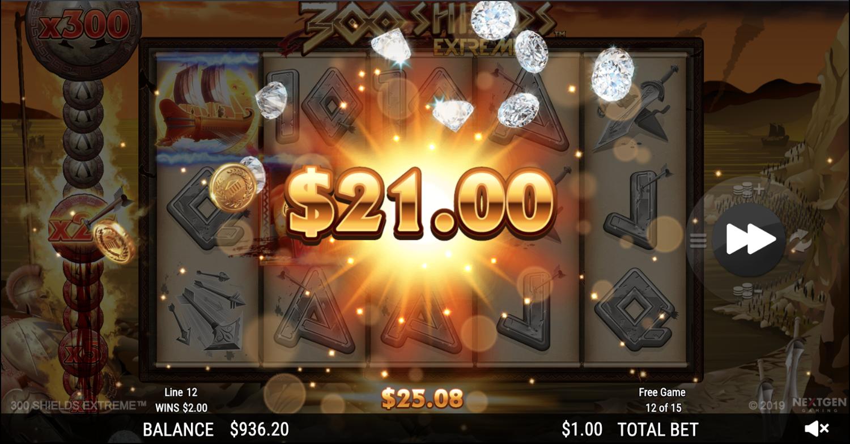 300 Shields Extreme bonus game win
