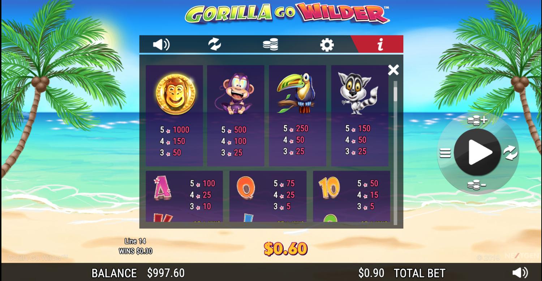 Gorilla Go Wilder paytable