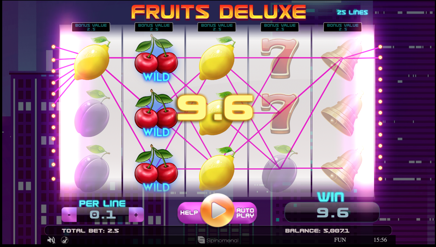 Fruits Deluxe slot base game win