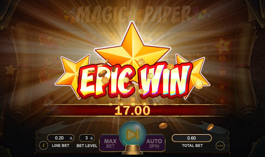 Gevinst på spillemaskinen Magic Papers topsymbol
