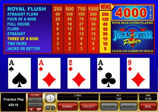 Free Jacks or Better Video Poker Online