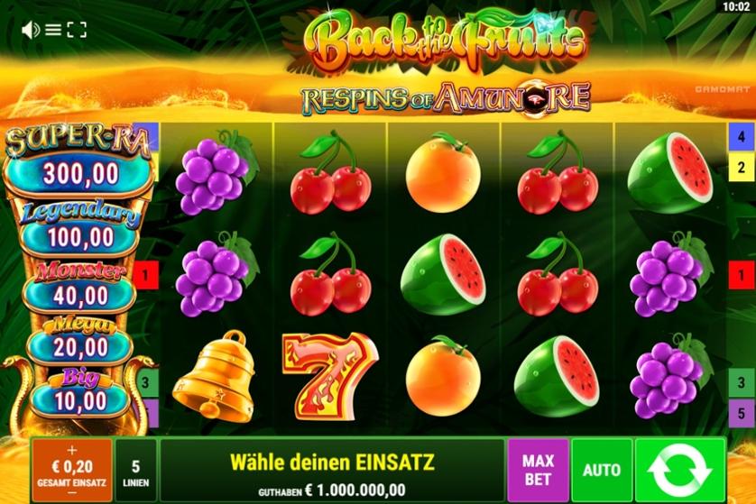 Spielen Sie Back to the Fruits - Respins of Amun-Re kostenlos im Demo Mode von Gamomat
