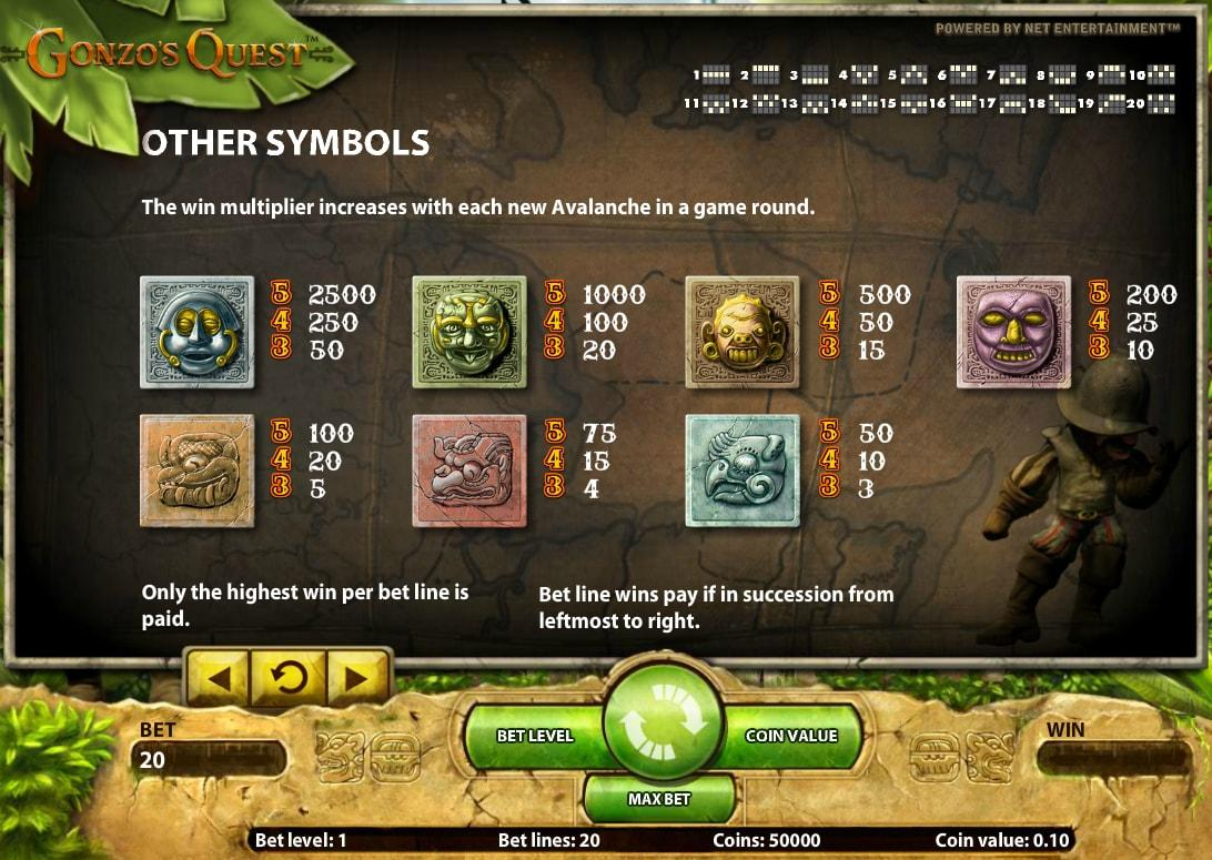 Gonzo's Quest slot game symbols and winlines