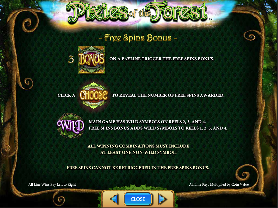 Pixies of the Forest Bonus Paytable