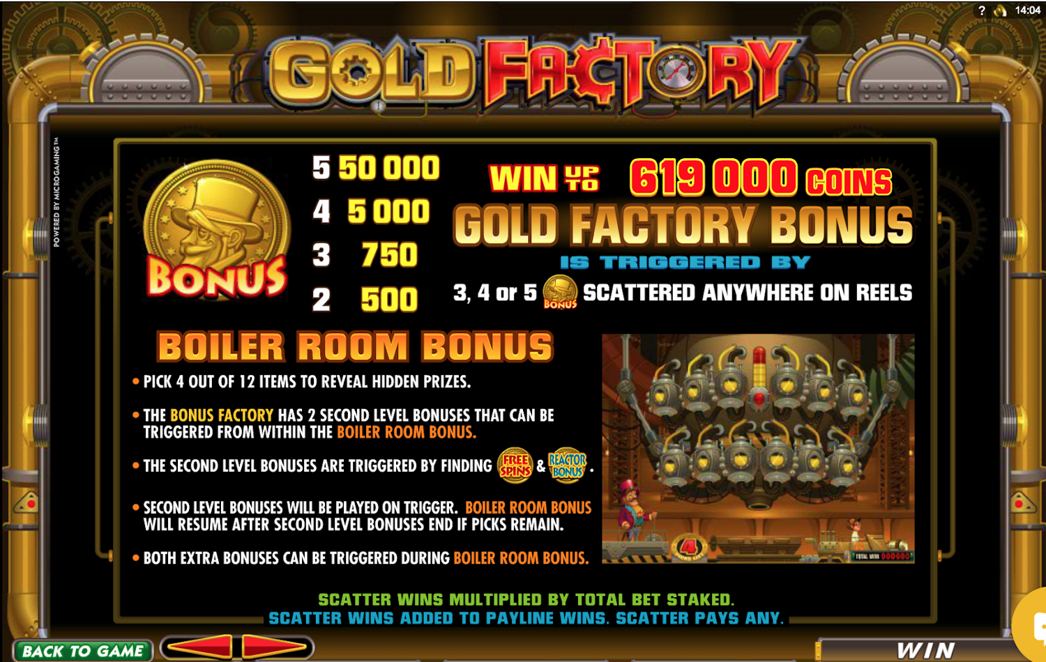 Gold Factory Bonus Game Paytable