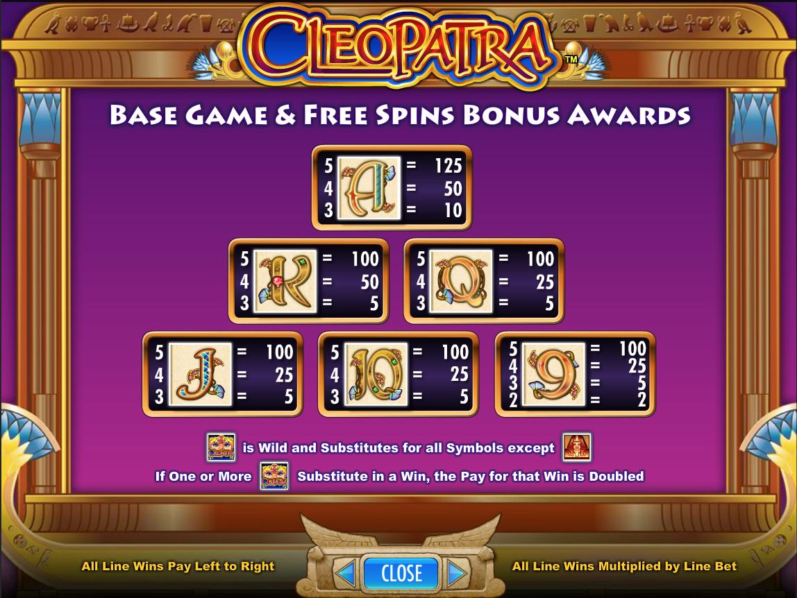 Cleopatra Basic Symbols Paytable