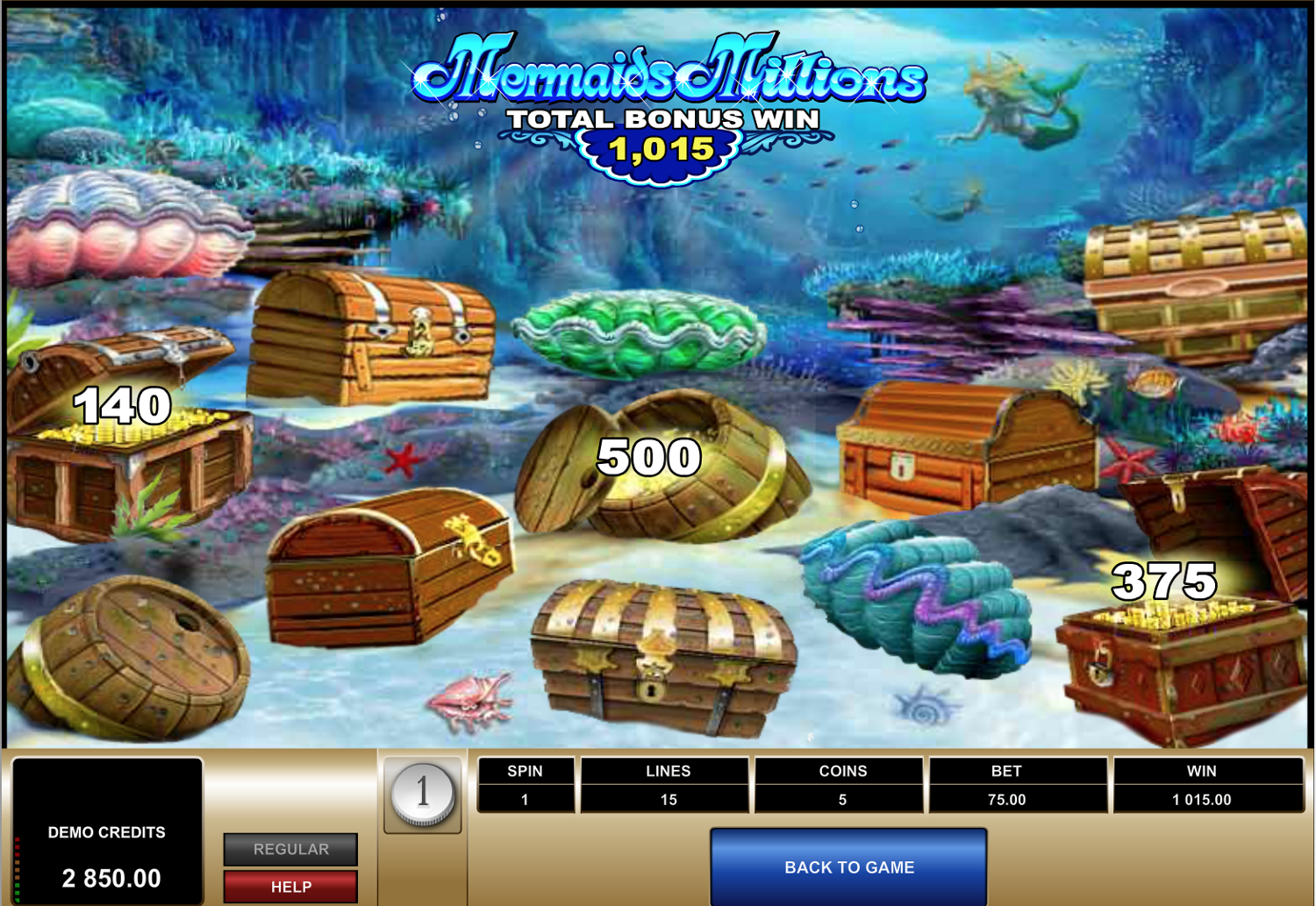Mermaids Millions Bonus Game