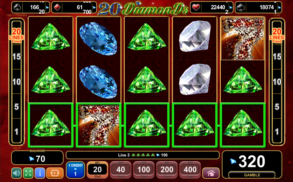 20 Diamonds Stacked Symbols