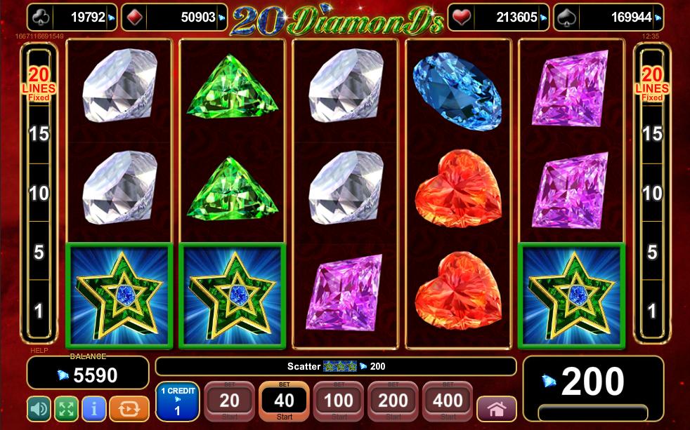 20 Diamonds Scatter Win