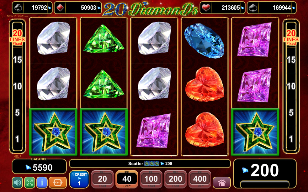 20 Diamonds Scatter Win