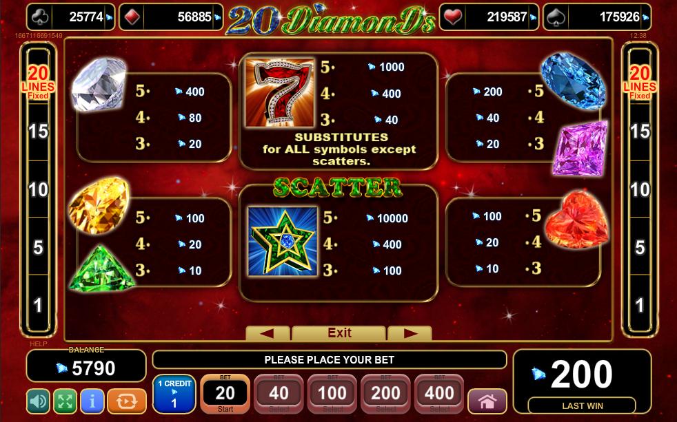 20 Diamonds Paytable