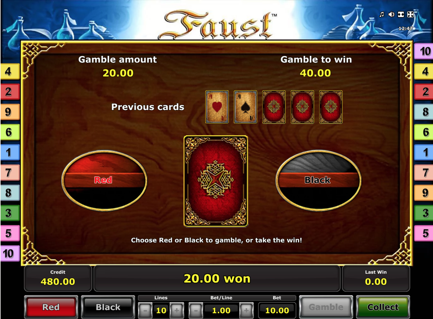 Faust gamble feature
