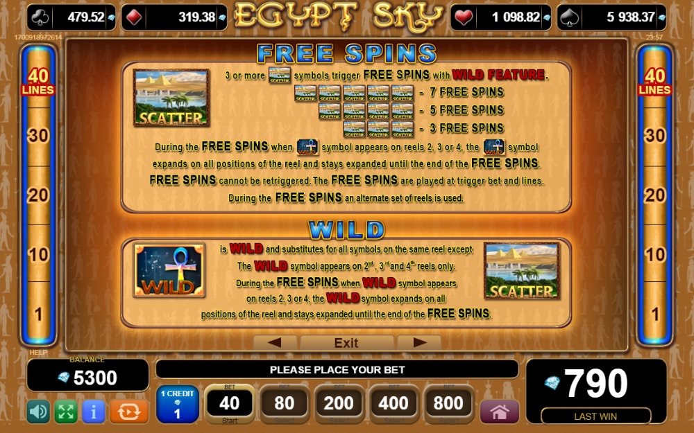 Rules of Egypt Sky bonuses