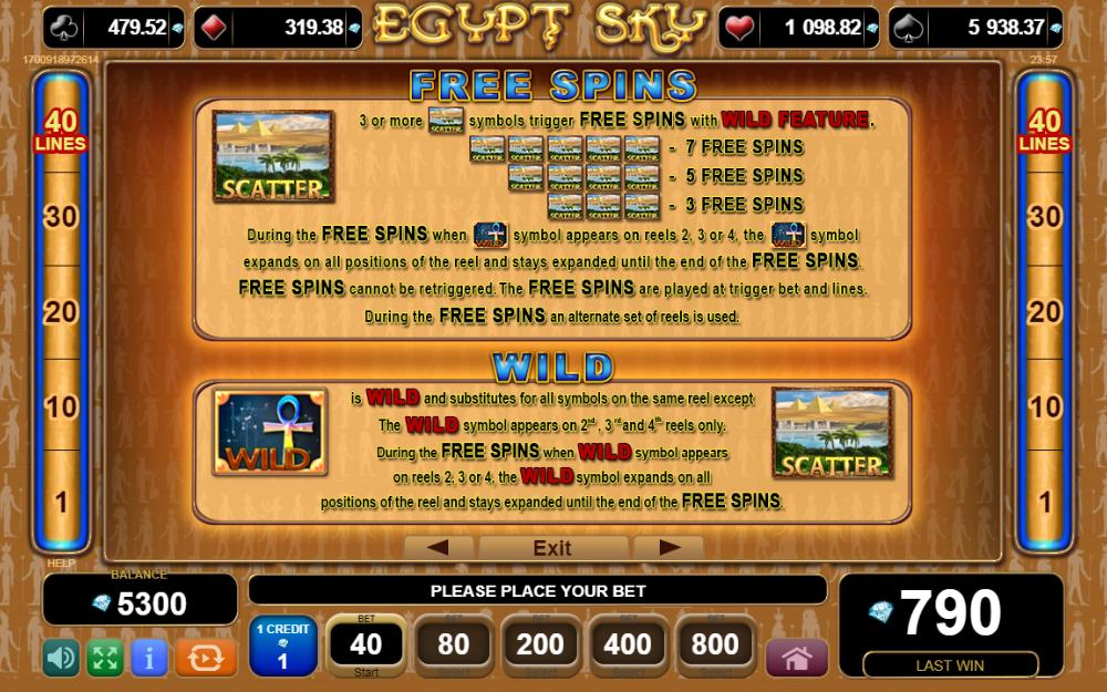 Rules of Egypt Sky bonuses