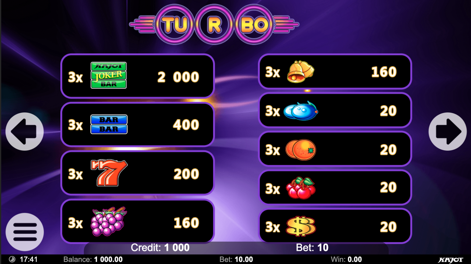 Paytable of Turbo 27 slot