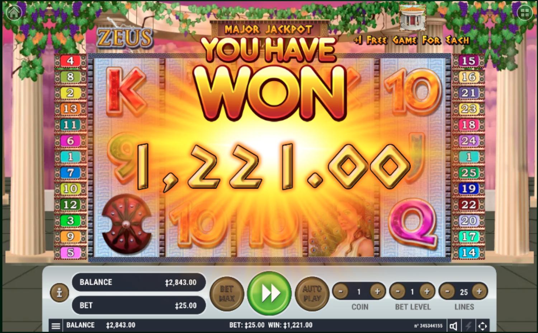 Habanero's Zeus major jackpot win