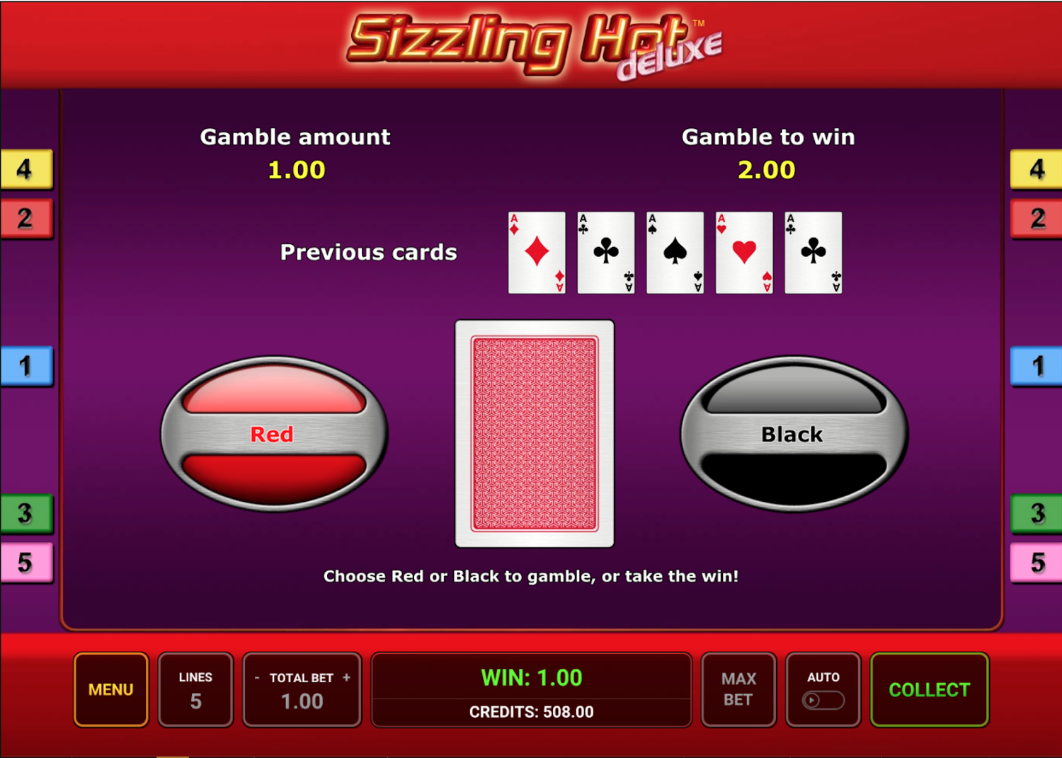 Sizzling Hot Deluxe offers a gamble feature