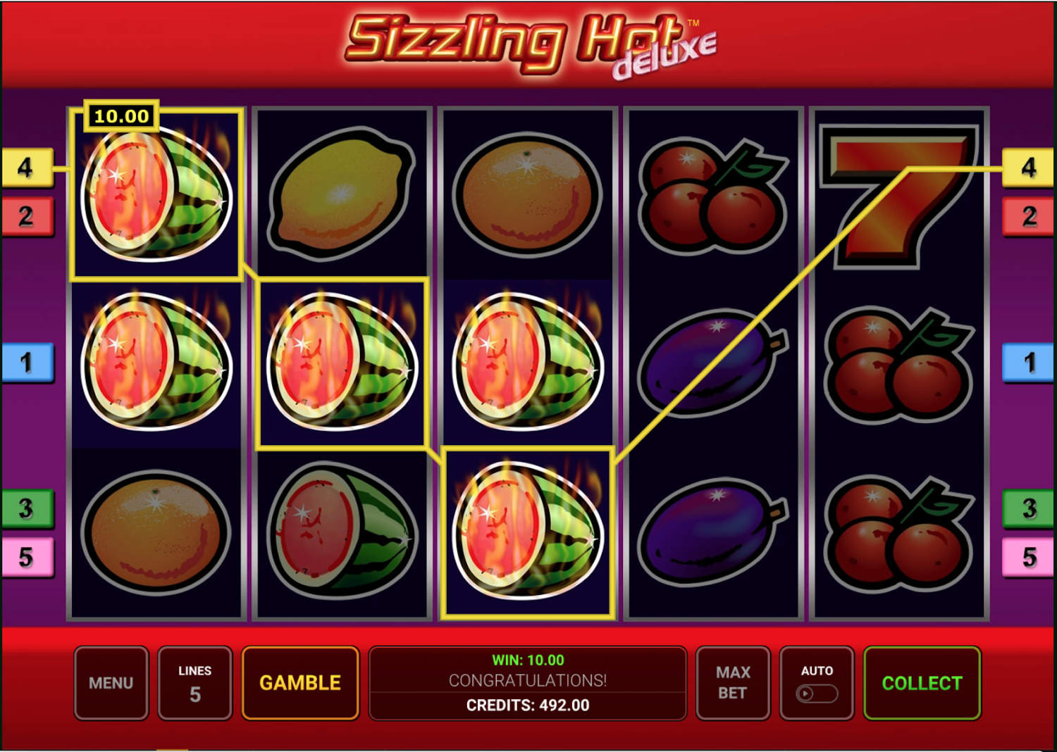 Only 5 winlines in Sizzling Hot Deluxe