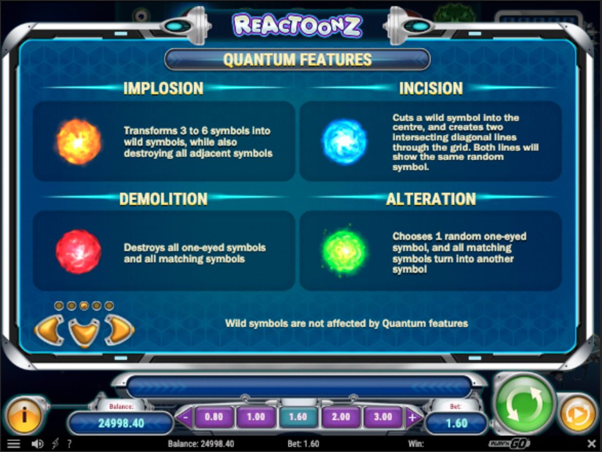 Reactoonz Quantum features (bonuses)