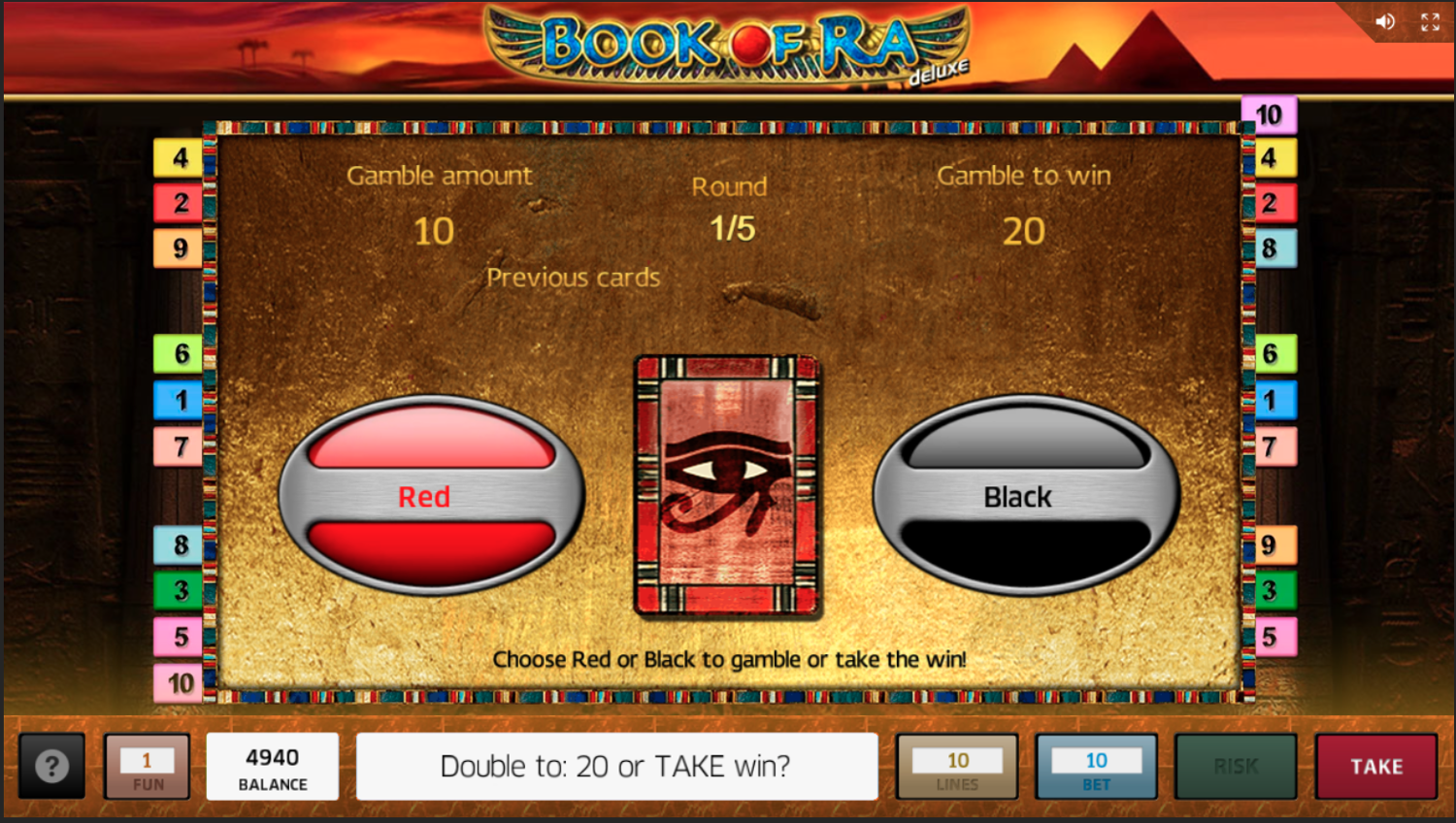 Book of Ra Deluxe gamble feature