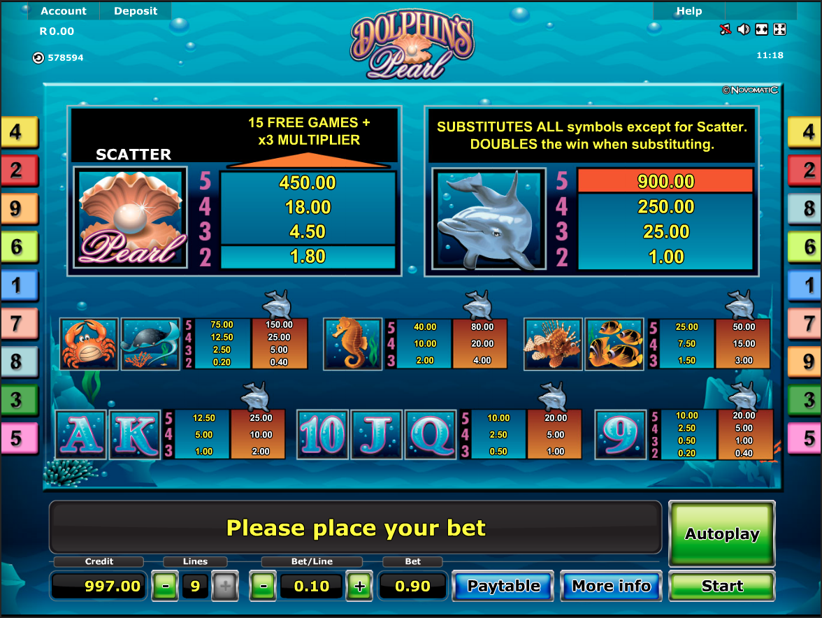 Dolphin's Pearls paytable