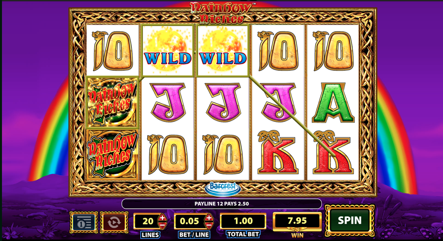 Rainbow Riches win with Wilds