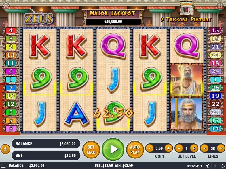 Zeus slot 5 of a kind win