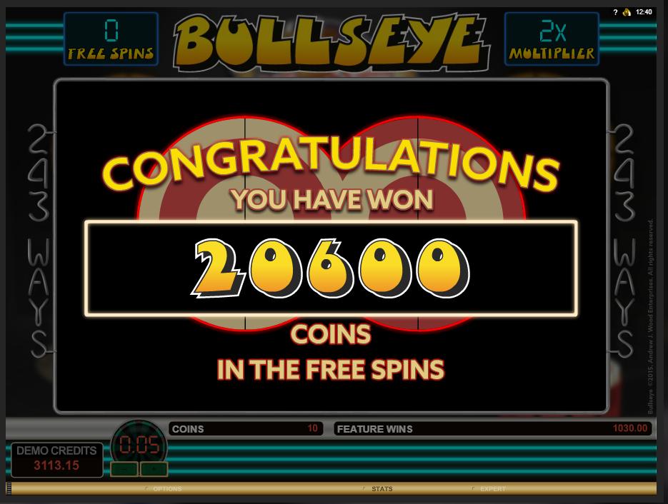 Bullseye free spins win