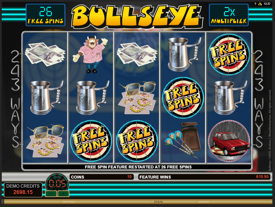 Bullseye additional free spins