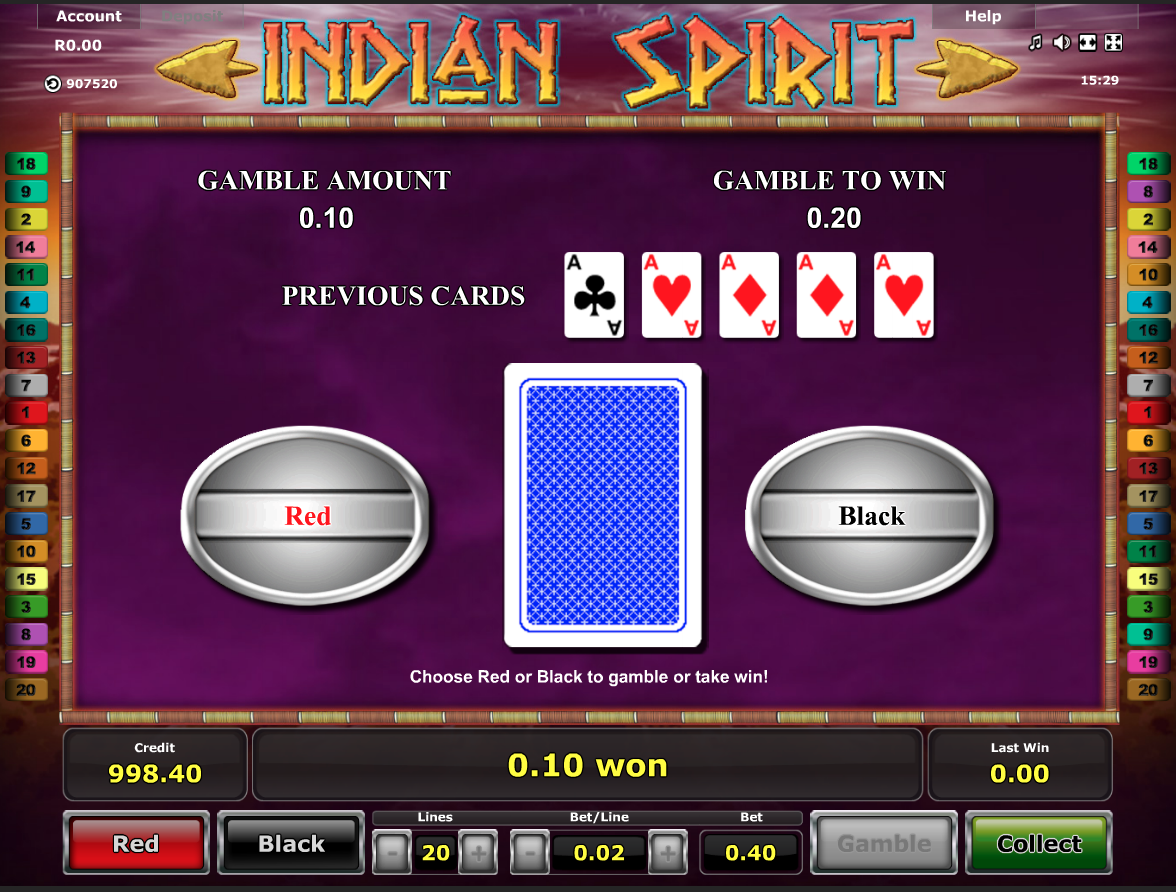 Indian Spirit gamble function