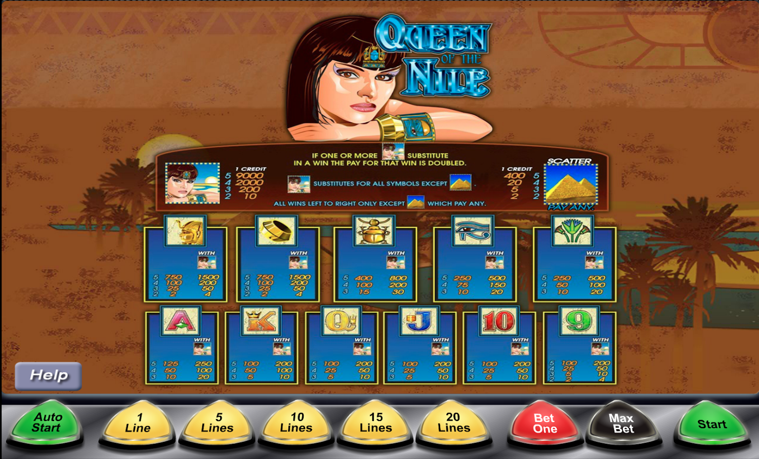 Queen of the Nile paytable