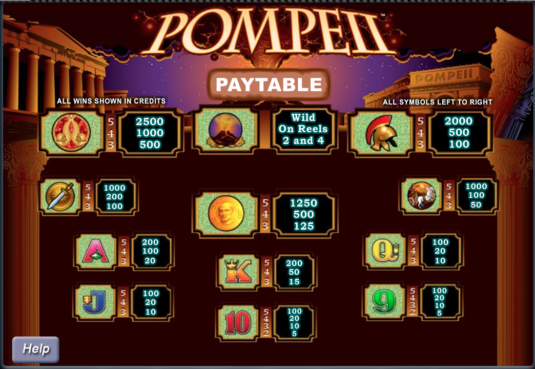 Pompeii slot - paytable