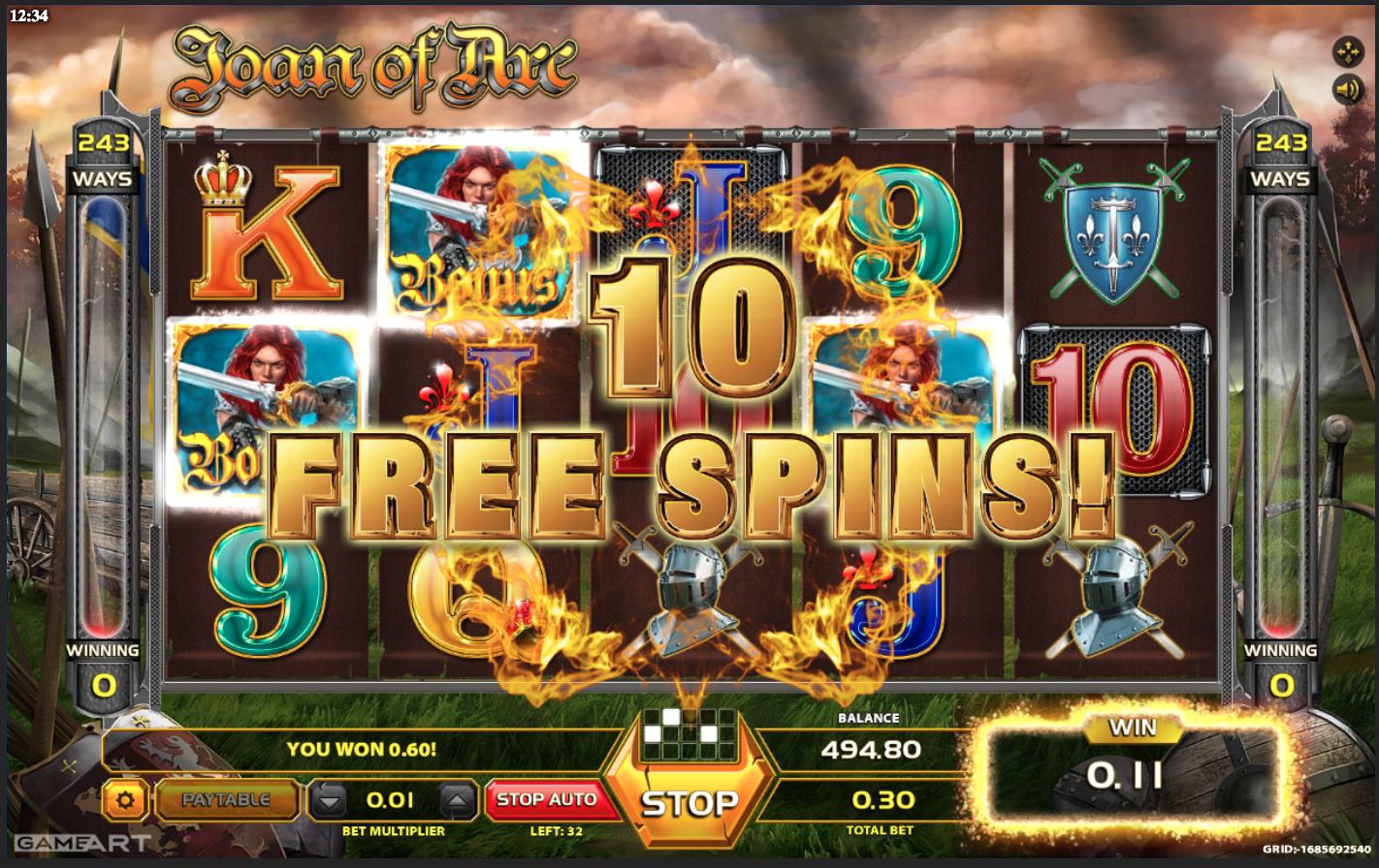 Joan of Arc - 3 Scatter hits with free spins