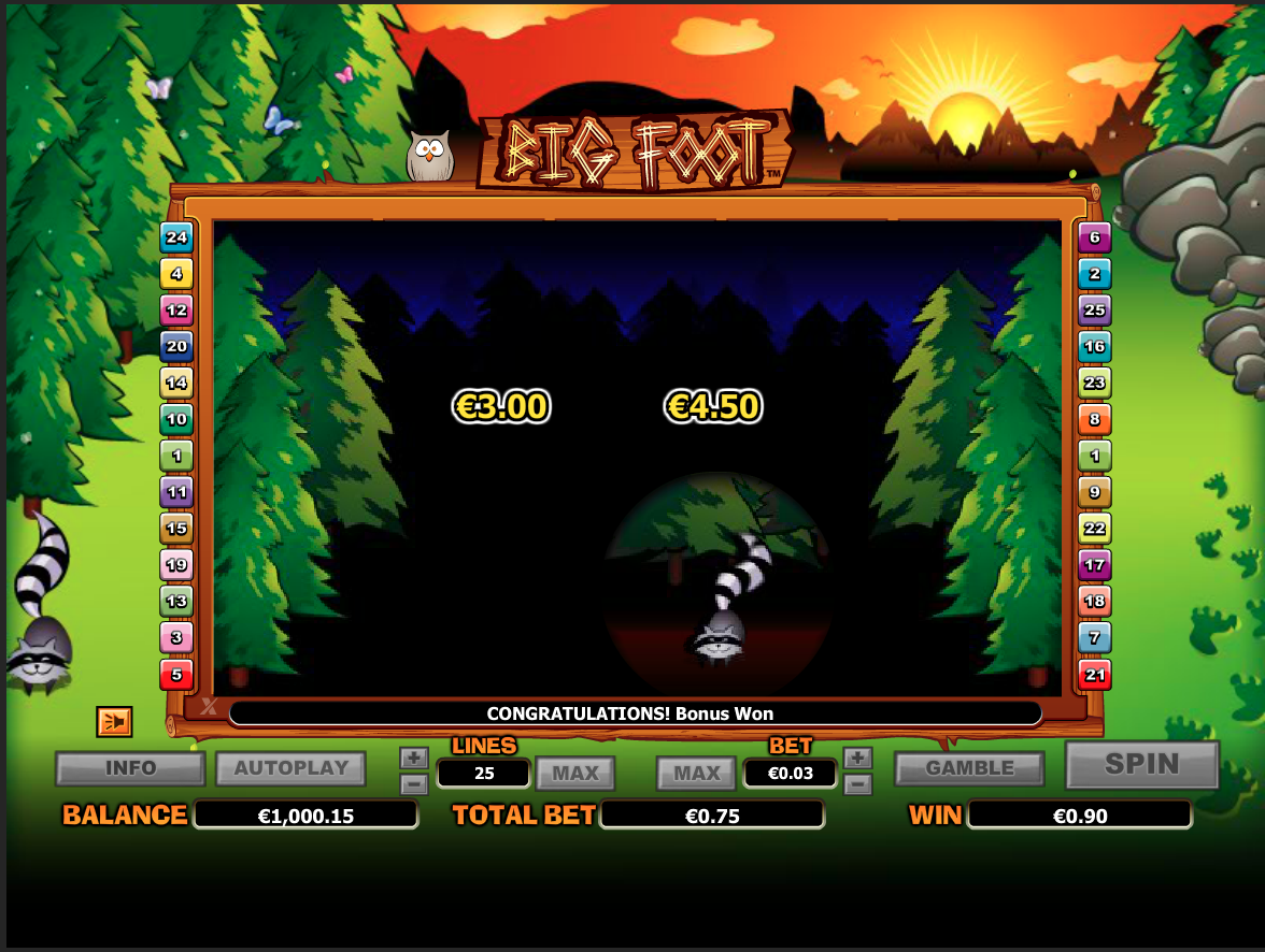 Bigfoot bonus game