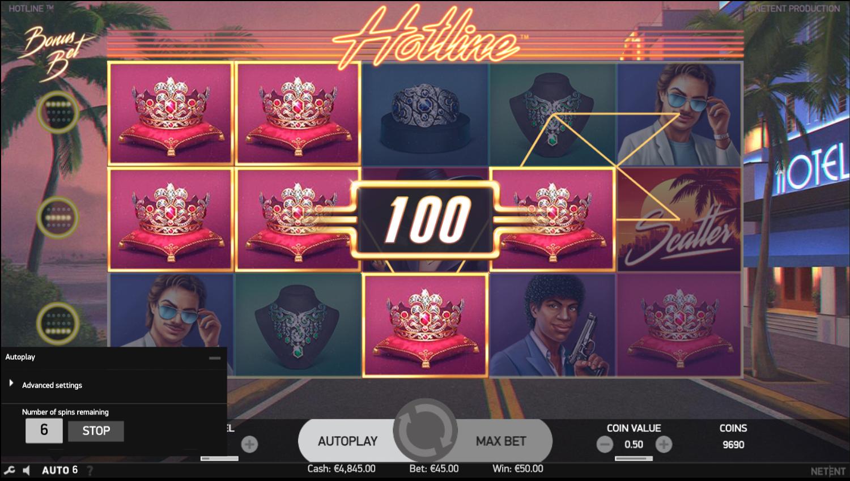 Hotline slot stacked symbols win