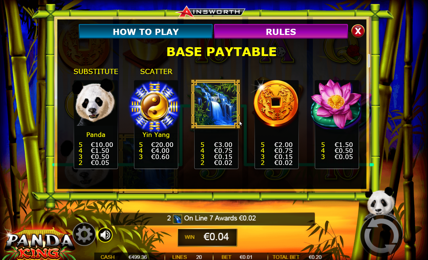 Panda King's base game paytable