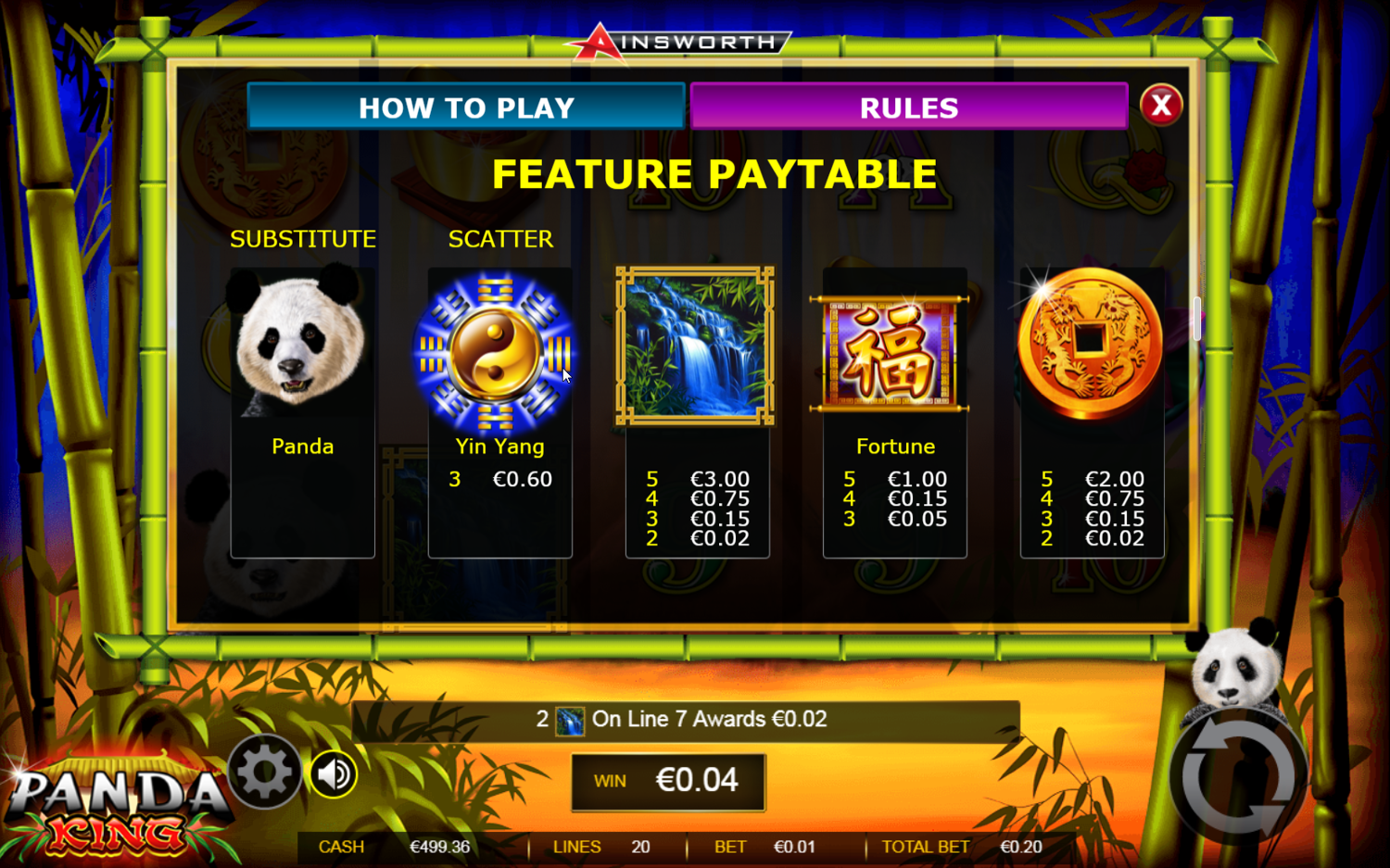 Panda King's feature paytable