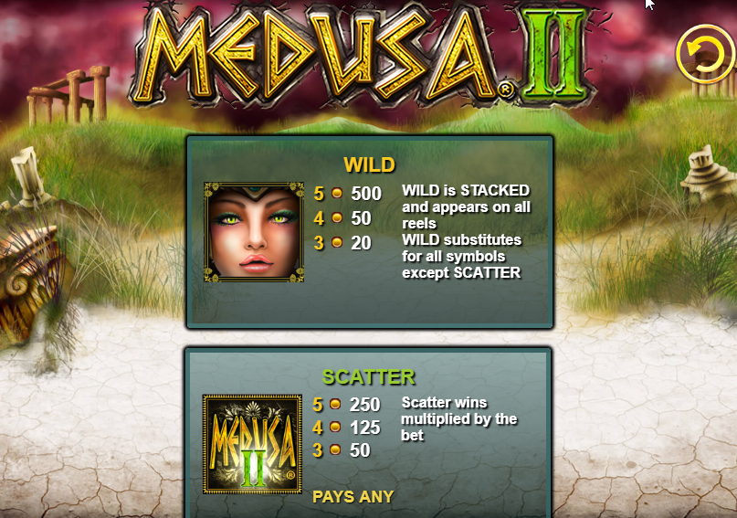 Medusa 2 HQ scatters and wilds paytable