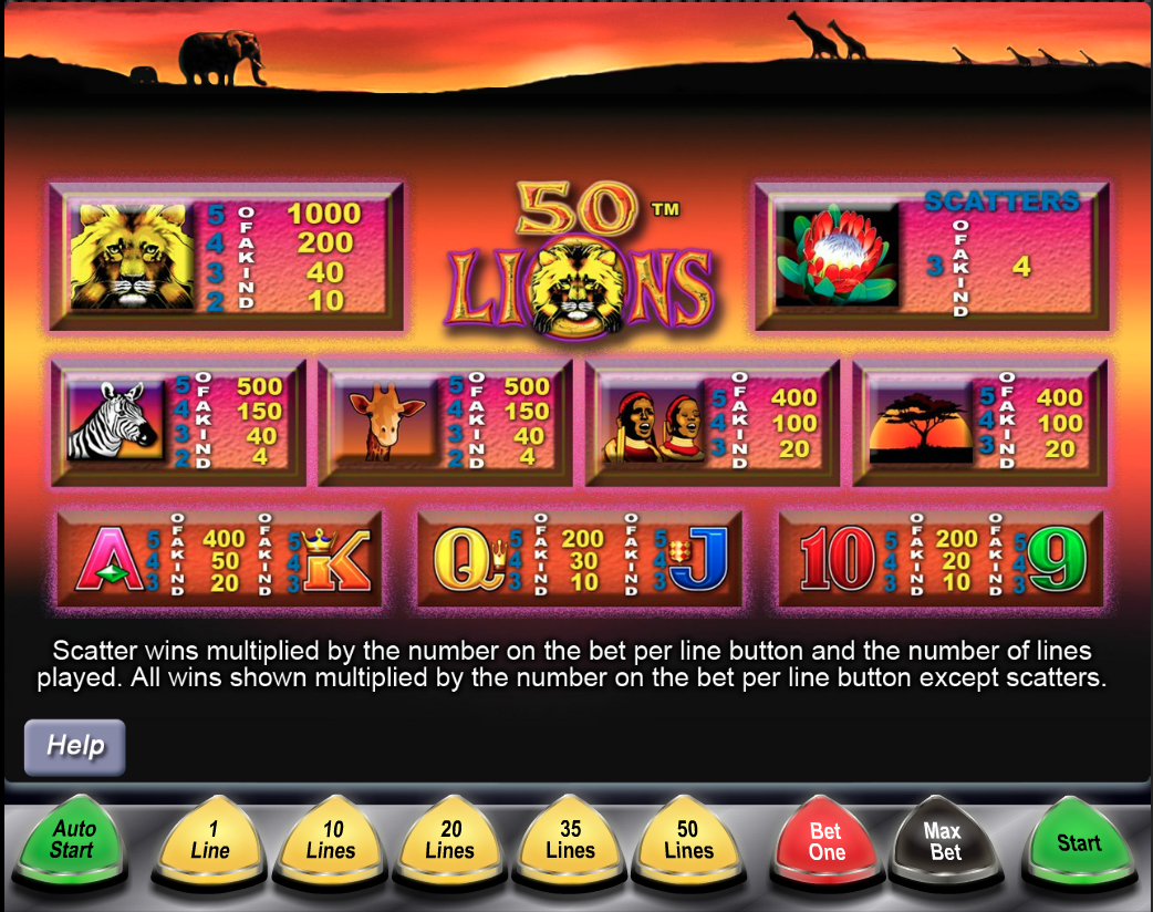 50 Lions paytable