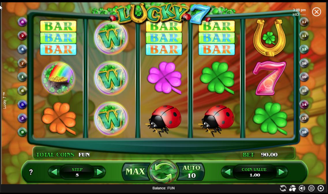 Símbolos Wild sem vitória no Lucky 7