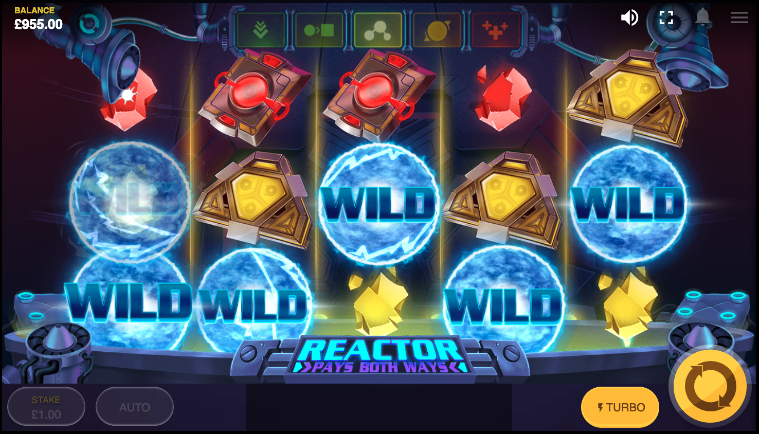 Reactor slot 5 Wilds win