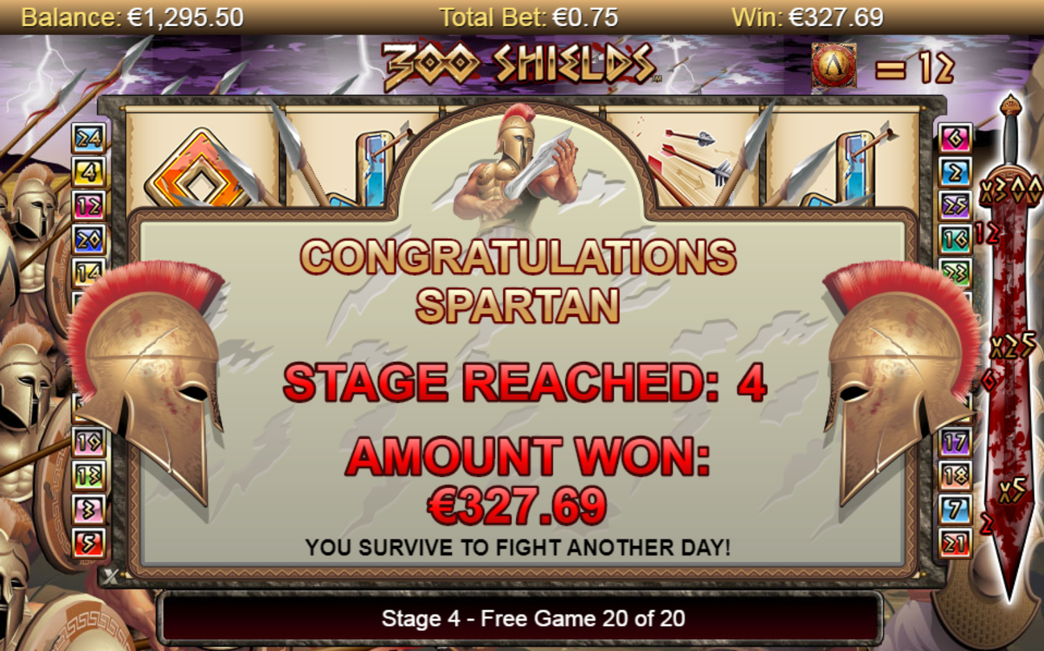 300 Shields slot huge free spins win