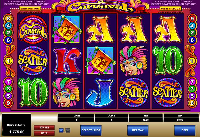 Carnaval slot 3 scatters hit