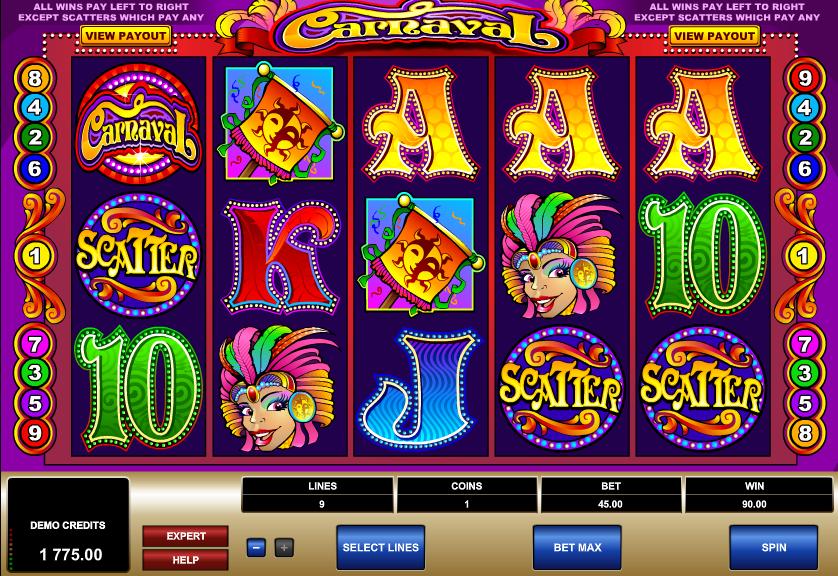 Carnaval slot 3 scatters hit