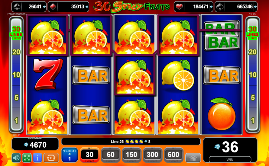 30 Spicy Fruits stacked symbols win