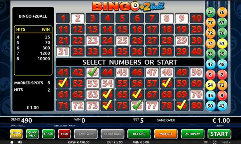 Spielen Sie Bingo 2Ball kostenlos im Demo Mode von Holland Power Gaming